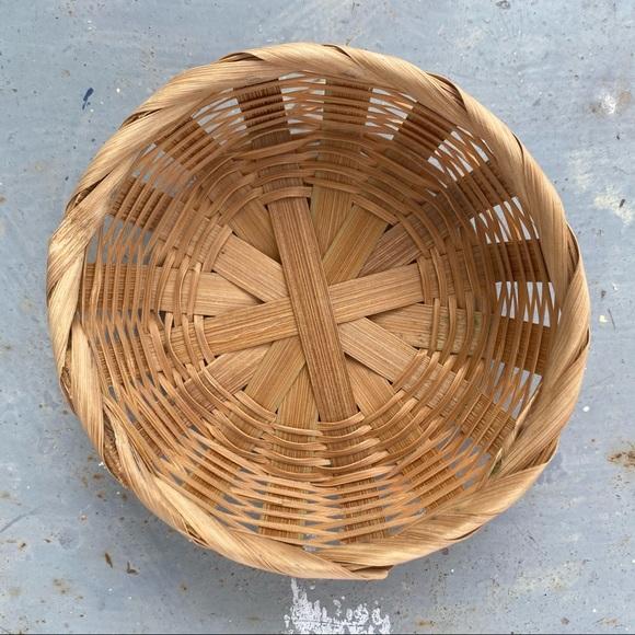 Small Vintage Boho Wicker Woven Basket
